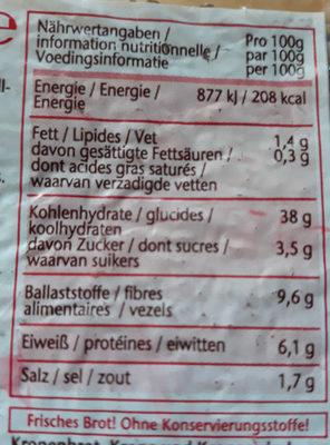 schwarzbrot - Voedingswaarden - de