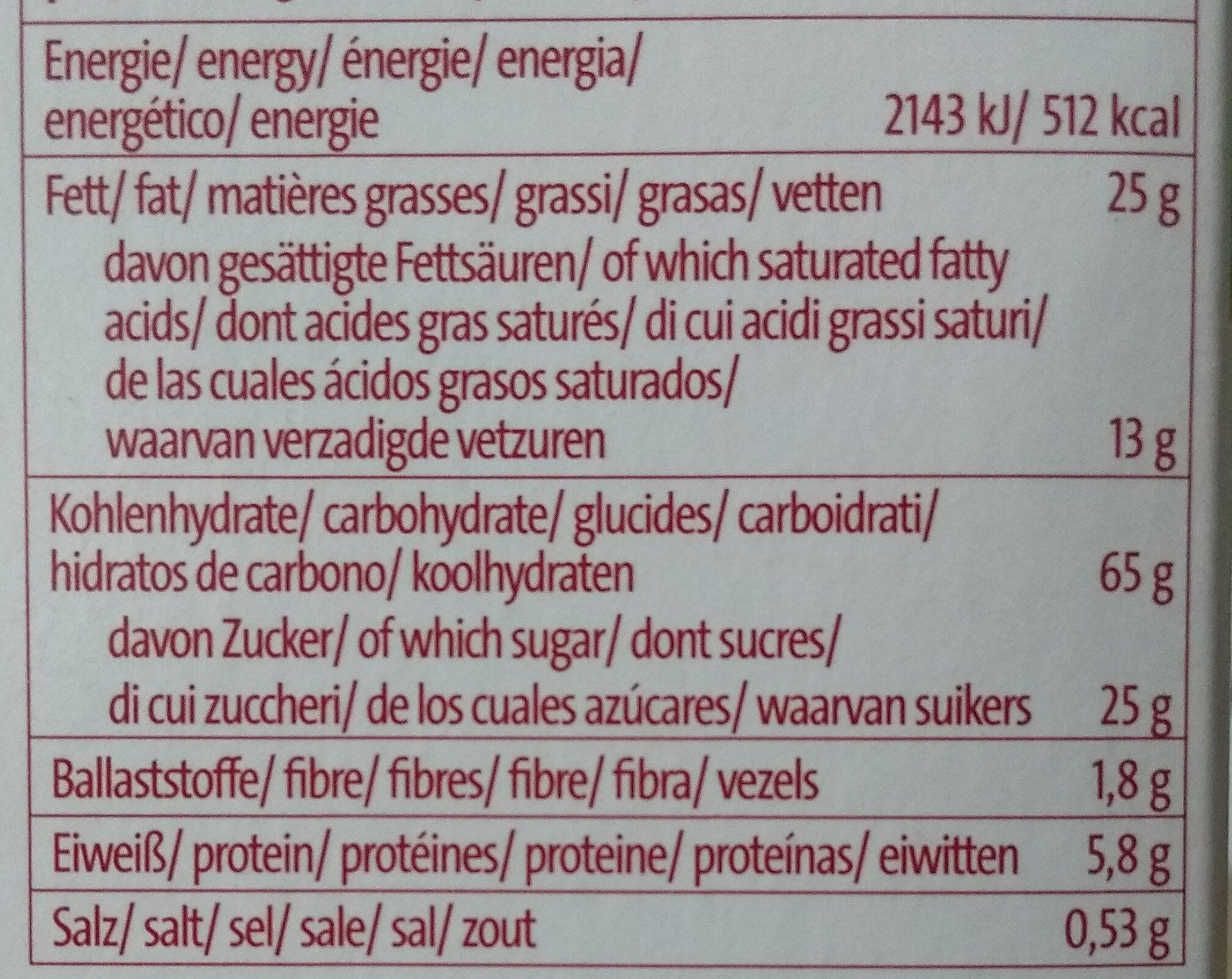 Torteletts - Nutrition facts