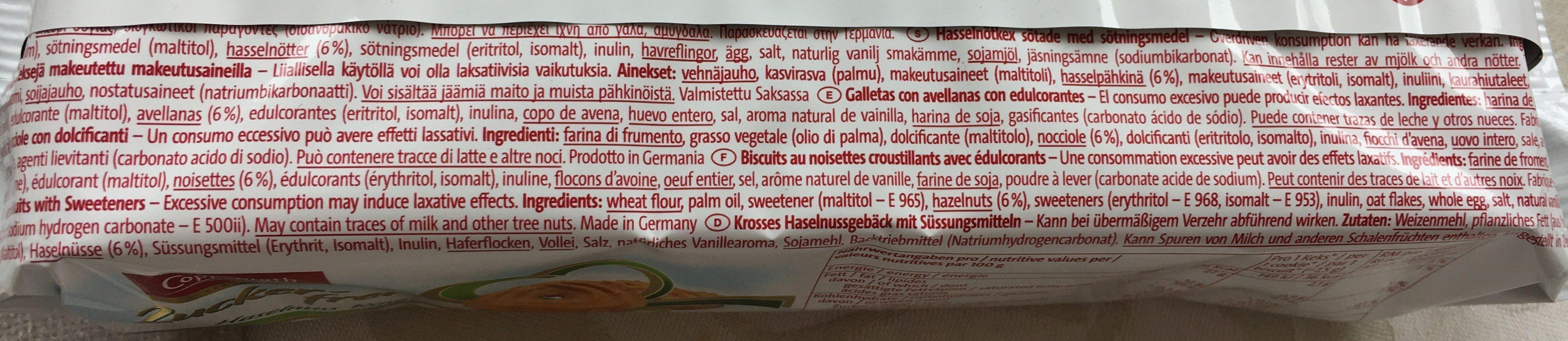 Zuckerfrei Haselnuss Ringe - Ingredienti - fr
