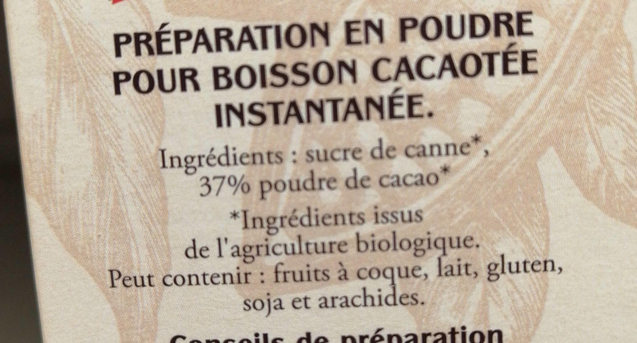 Van Houten façon bistro bio - Ingredients