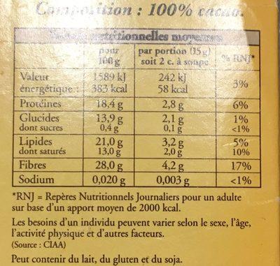 L'original Cacao non sucré (+10% gratuit) - Informations nutritionnelles - fr