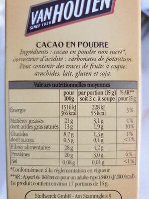 Cacao en poudre non sucré - Ingrediënten - fr