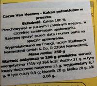 Cacao en poudre - Wartości odżywcze