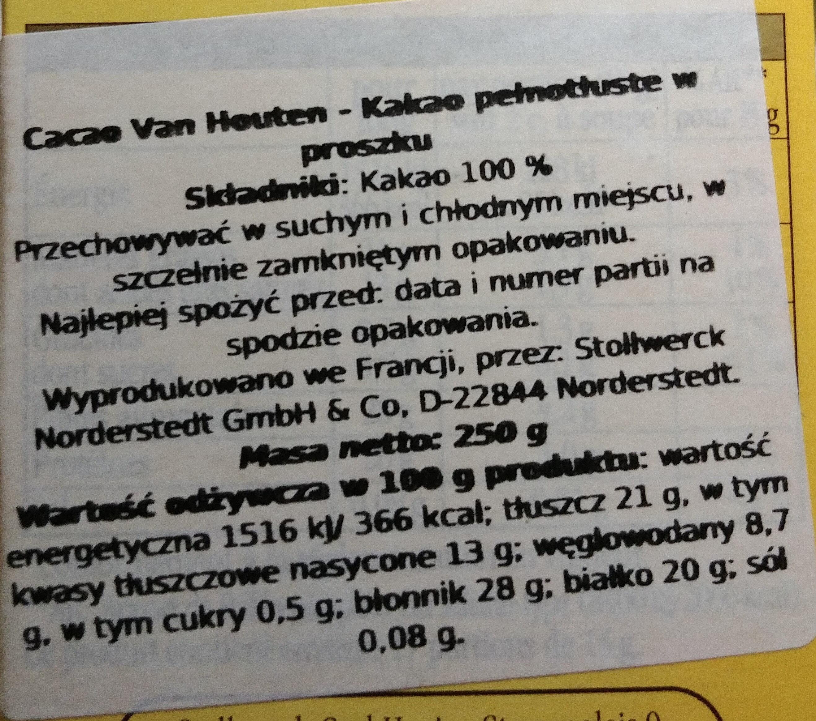 Cacao en poudre non sucré - Wartości odżywcze - pl