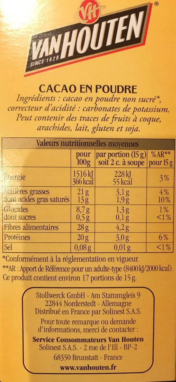 L'original Cacao en poudre - Informations nutritionnelles - fr