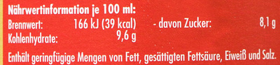 Birnensaft - Nährwertangaben - de