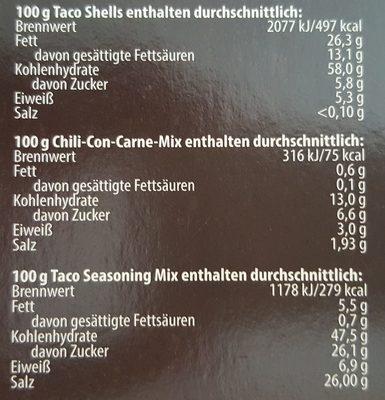 Taco kit - Nutrition facts - de