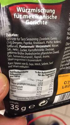 Seasoning Mix Taco - Ingrédients - de