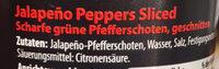 Jalapeño Peppers Sliced - Ingrédients - de