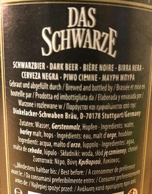 DAS SCHWARZE BEER - Ingredients