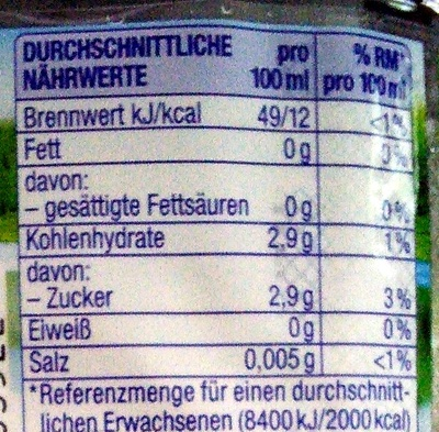 Vitrex mit Mango-Maracuja-Geschmack - Nutrition facts