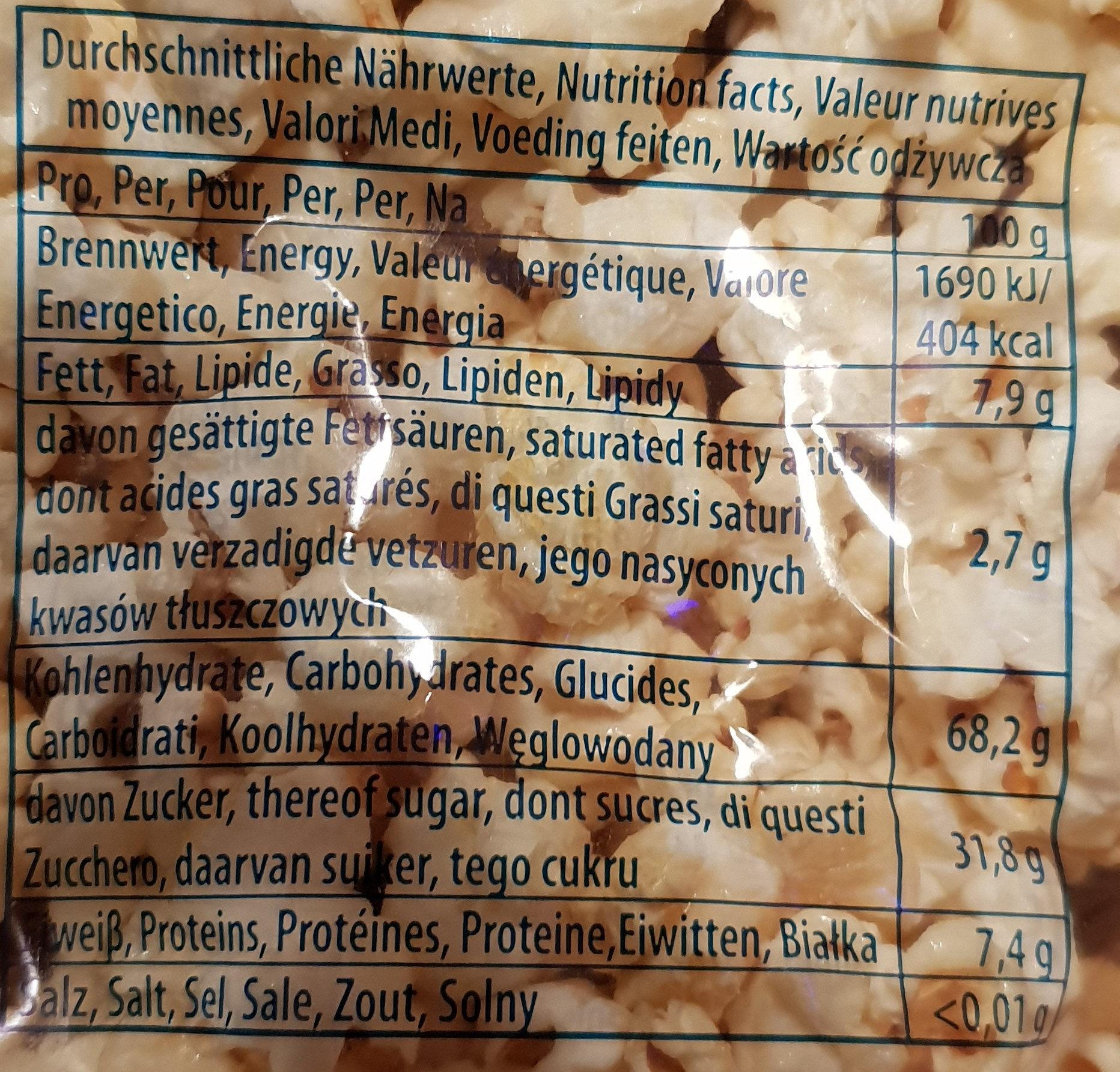 Popcorn - Nutrition facts - de