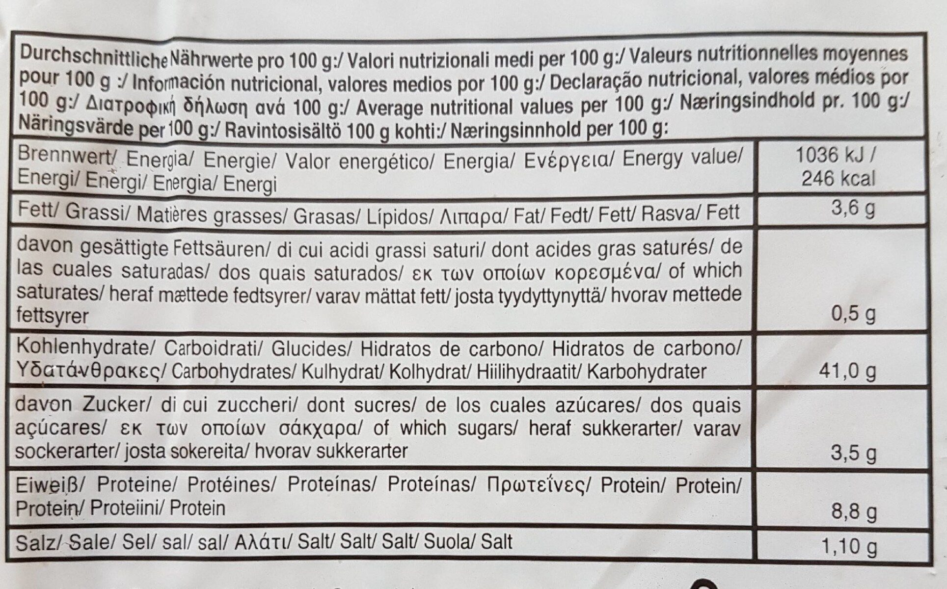 Traditional American Vollkorn Sandwich - Valori nutrizionali - fr