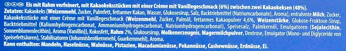 Sándwich helado de galleta oreo - Inhaltsstoffe - de