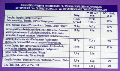 Milka Crunchy Chocolate - Nutrition facts