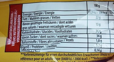 Glace Toblerone - Nutrition facts - fr
