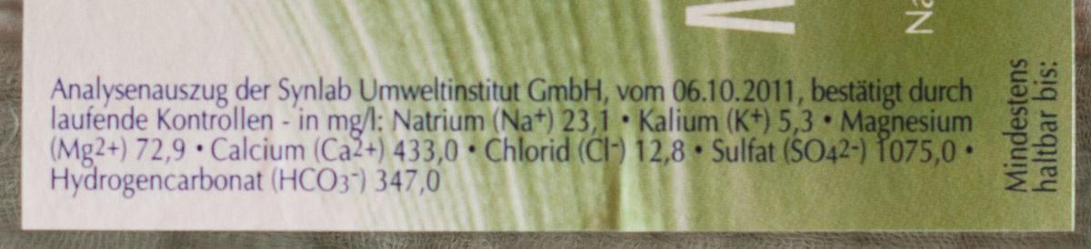 Marius Mineral-Quelle medium - Nutrition facts