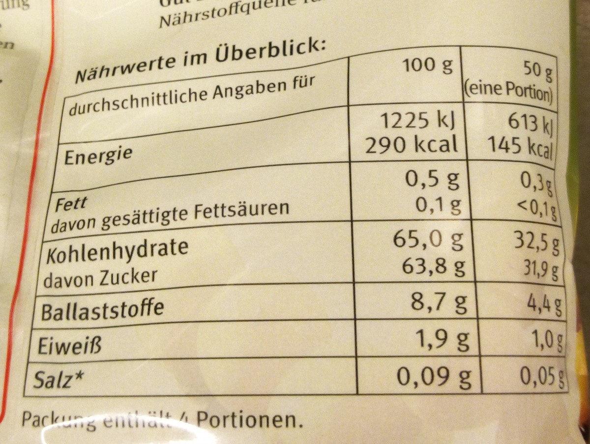 Datteln - Nutrition facts - en