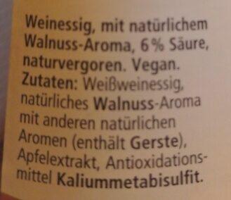 Essig Walnuss - Ingredients - de