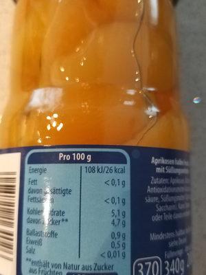 natreen aprikosen - Informations nutritionnelles