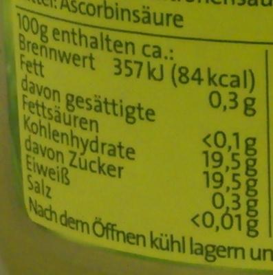 Apfelmus - Informations nutritionnelles