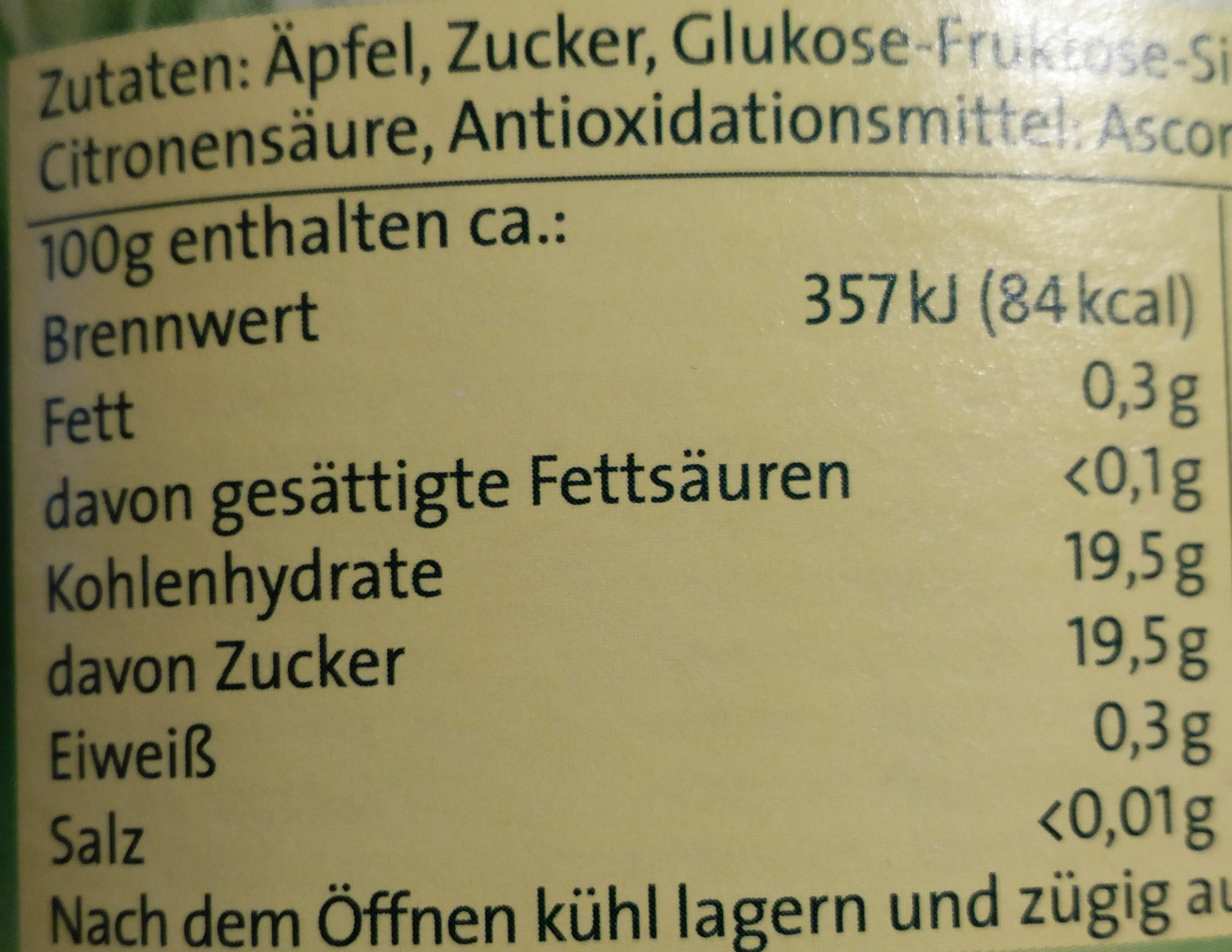 Apfelmus - Nutrition facts - de