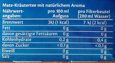 Mate Tee Guarana - Voedingswaarden