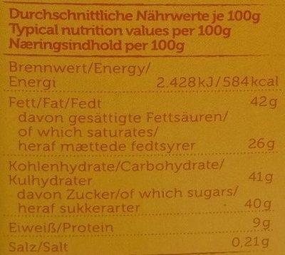 Venezuela 43% Kakao - Nutrition facts - sr