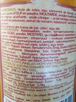 Sauce cocktail - Informations nutritionnelles