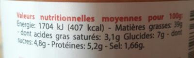 La délicieuse tomates basilic - Nutrition facts