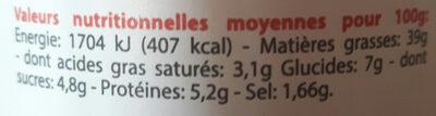 La délicieuse Tartinable Tomate basilic - Nutrition facts - fr