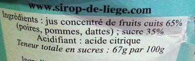 Sirop de Liège - Ingredienti - fr