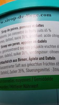 Sirop de liège - Ingrediënten - fr