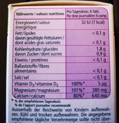 Magnésium naturel +calcium & vitamine D3 - Nutrition facts