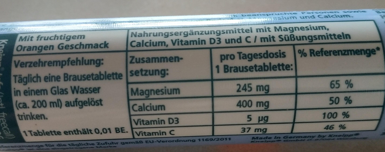Magnesium, Calcium D3 - Informations nutritionnelles - de