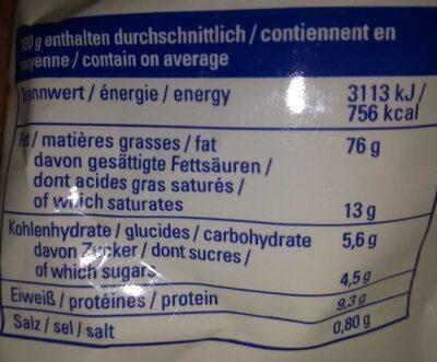 Macadamia Nusskerne - Informations nutritionnelles - de