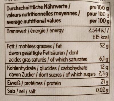 Pistaches décortiquées - Informations nutritionnelles - fr