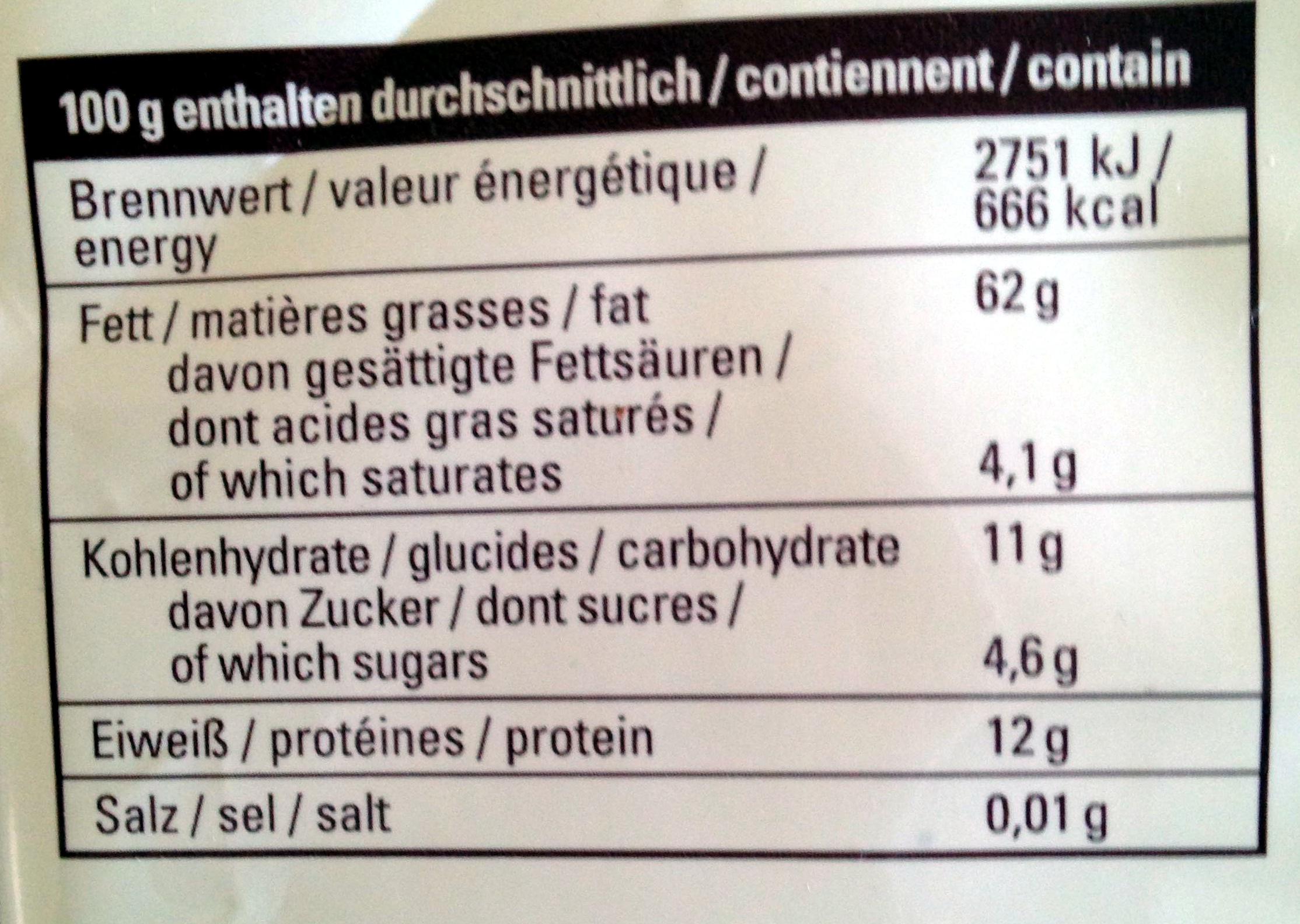 Haselnusskerne - Valori nutrizionali