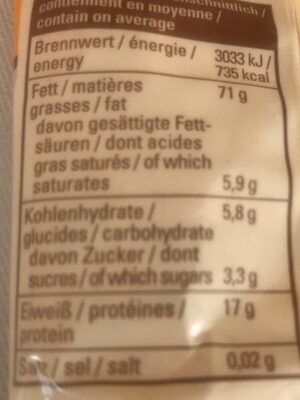 Milde Pinienkerne - Informations nutritionnelles - fr