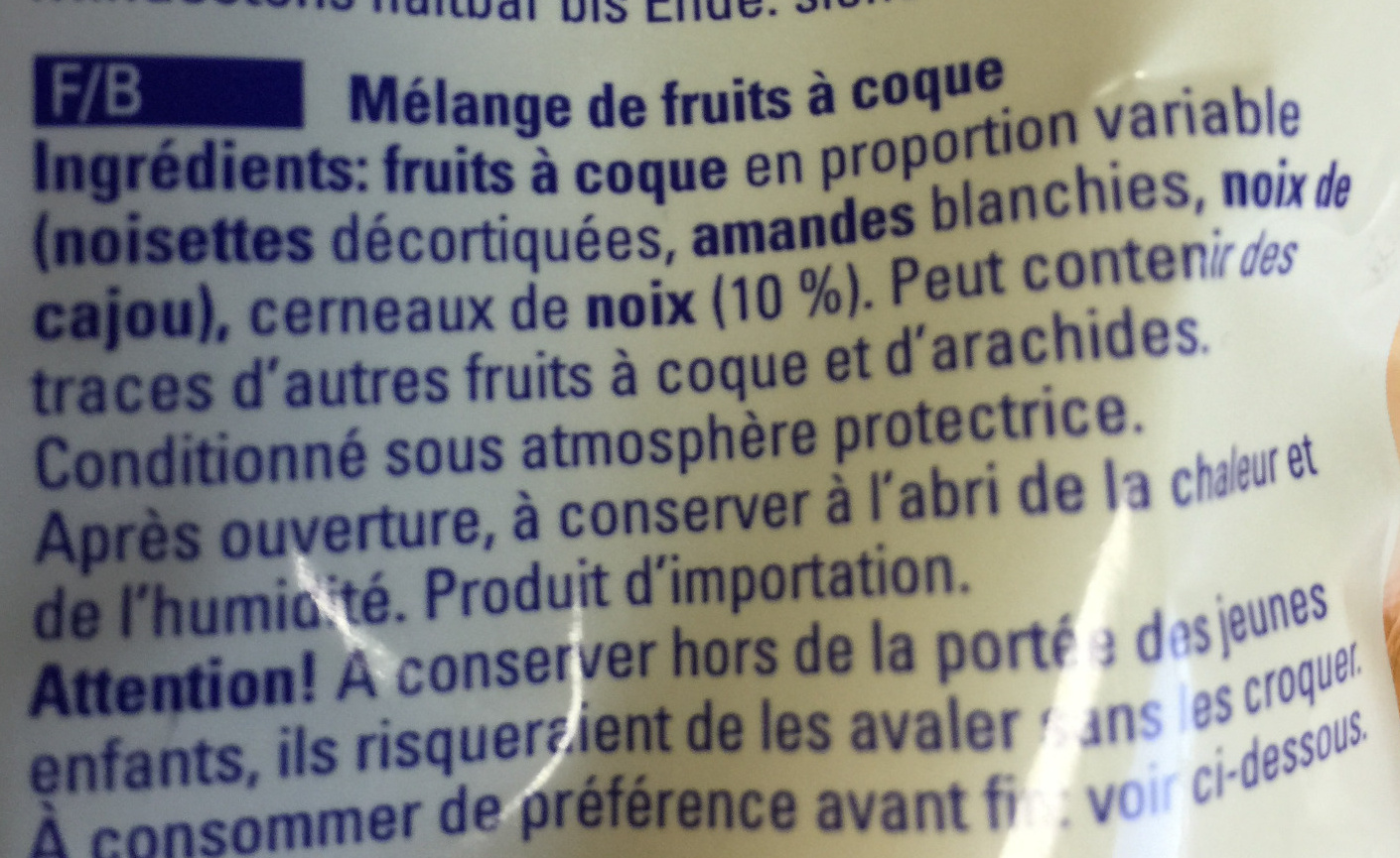 Mélange de noix - Ingredients