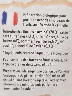 Porridge Pomme-Cannelle - Ingrédients - fr