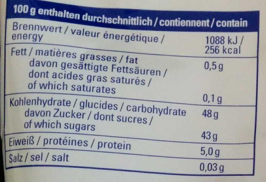 Aprikosen ungeschwefelt - Informations nutritionnelles - fr