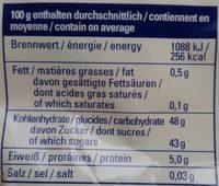 Aprikosen ungeschwefelt - Informations nutritionnelles - de