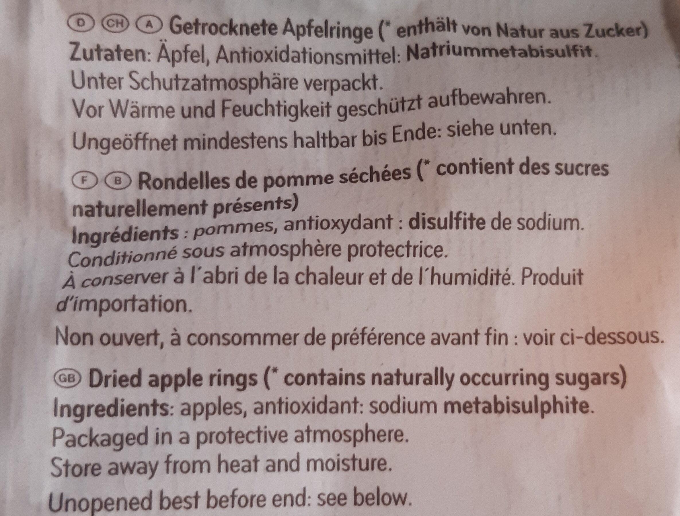 Rondelles de pommes séchées - Ingrédients - fr