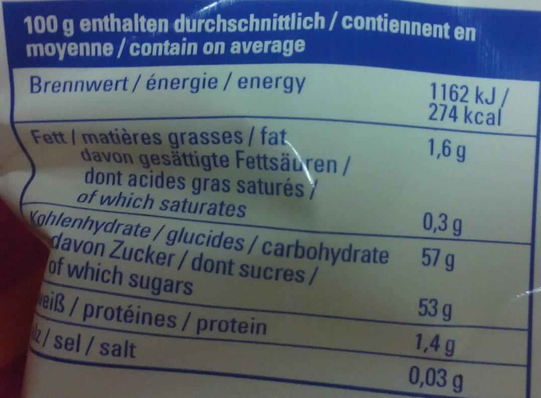 Rondelles de pommes séchées - Informations nutritionnelles