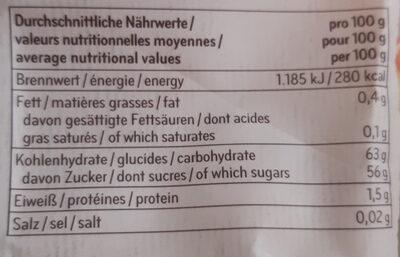 Rondelles de pommes séchées - Informations nutritionnelles - fr