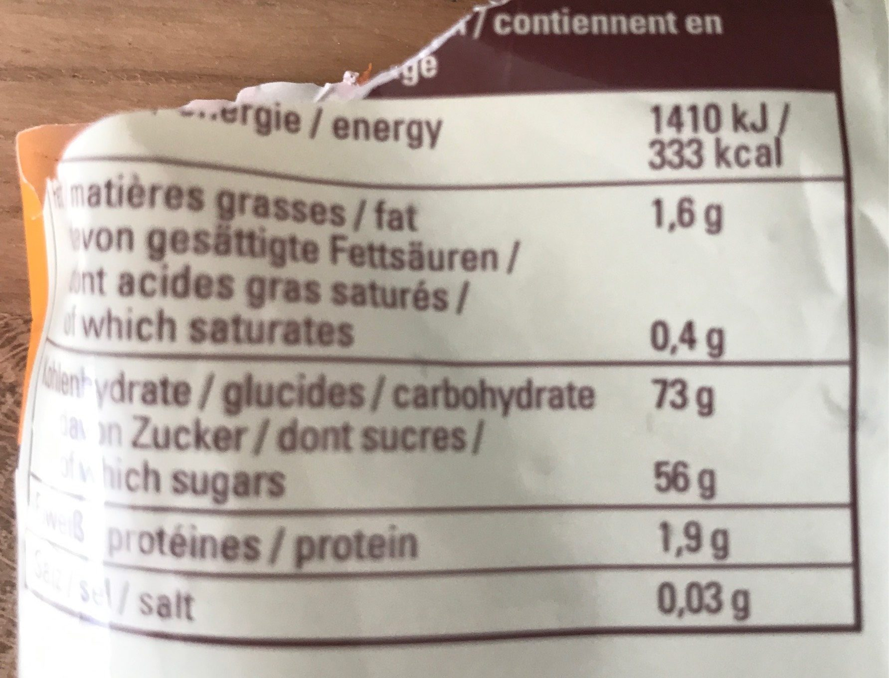 Superfrucht Sélection - Nutrition facts