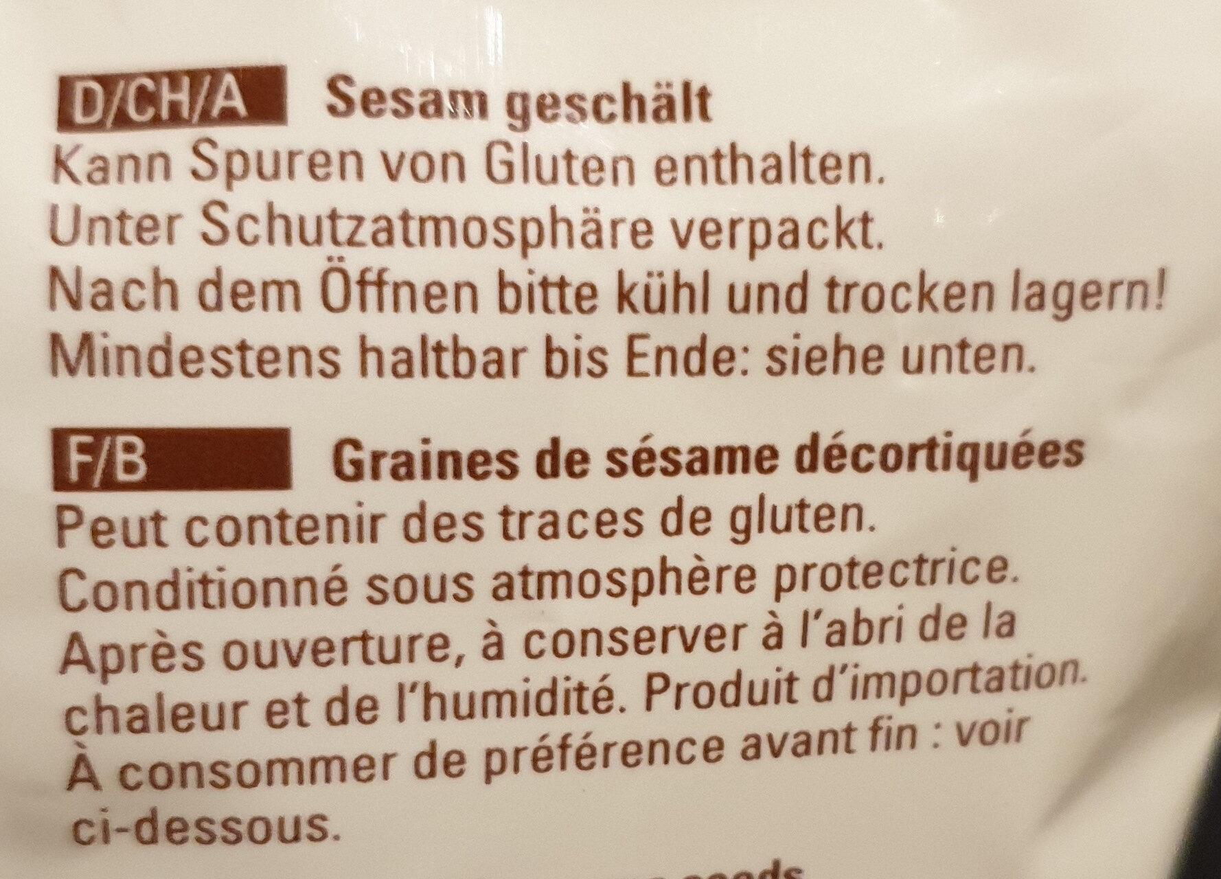 Sesam Geschält / Sésame décortiqué - Ingrédients - fr
