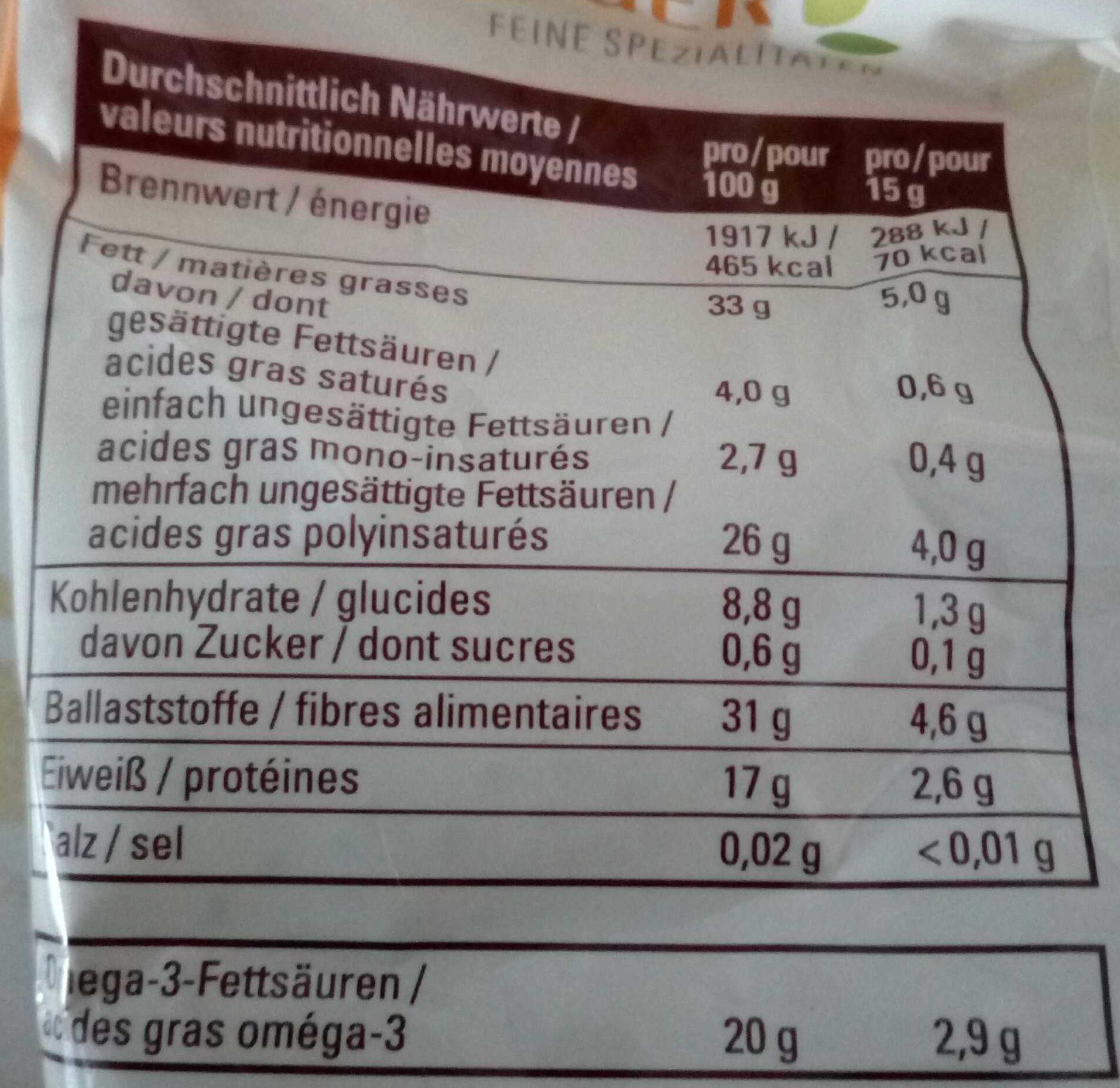 Graines de Chia - Informazioni nutrizionali - fr