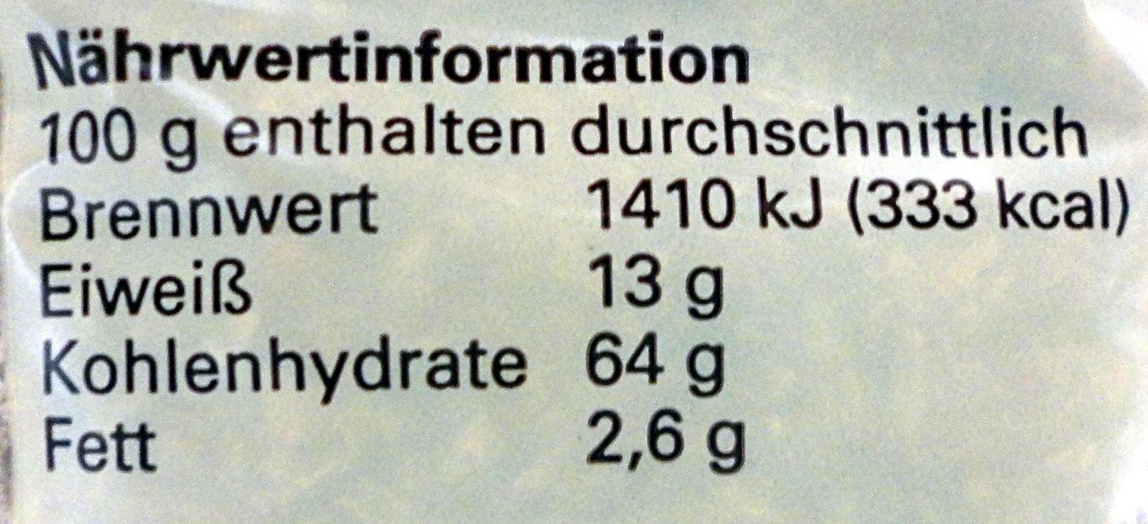 Grünkernschrot - Informations nutritionnelles